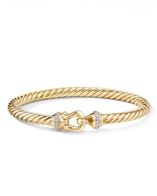 David Yurman Metallic 18k Yellow Gold Cable Buckle Bracelet With Diamonds