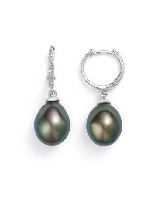 Tara Pearls - Metallic 14k White Gold Natural Color Tahitian Cultured Pearl Hoop Drop Earrings - Lyst