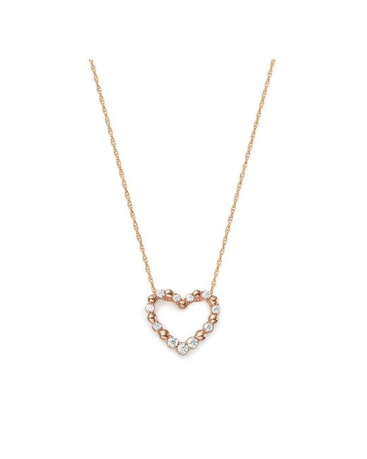 Bloomingdale's White Diamond Heart Pendant Necklace In 14k Rose Gold