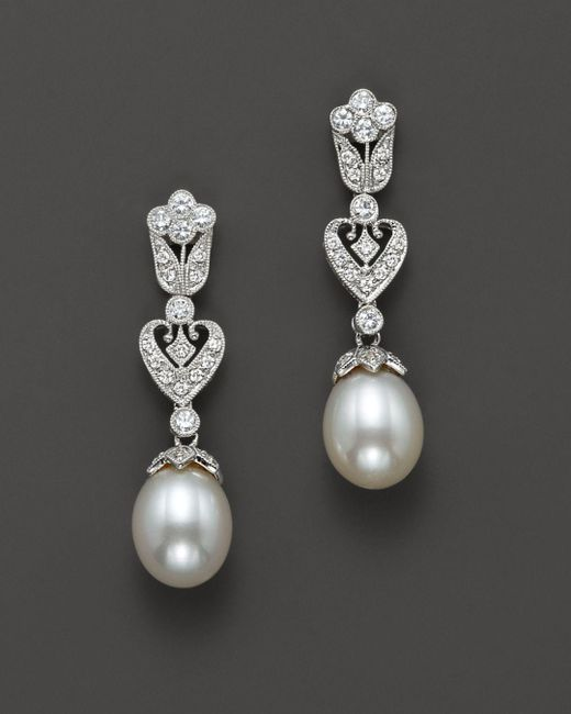 Bloomingdale's - Metallic Cultured Freshwater Pearl Earrings With Diamonds In 14k White Gold, 8mm - Lyst
