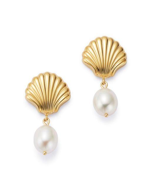 Bloomingdale's Metallic Freshwater Pearl Shell Drop Earrings In 14k Yellow Gold