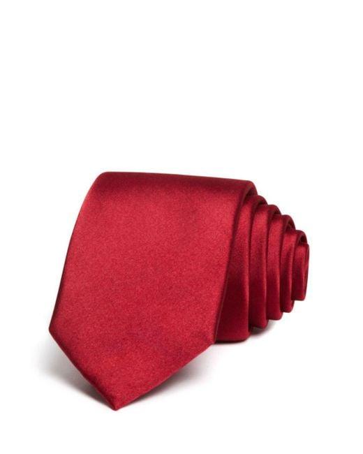 Bloomingdale's Red Solid Satin Skinny Tie for men