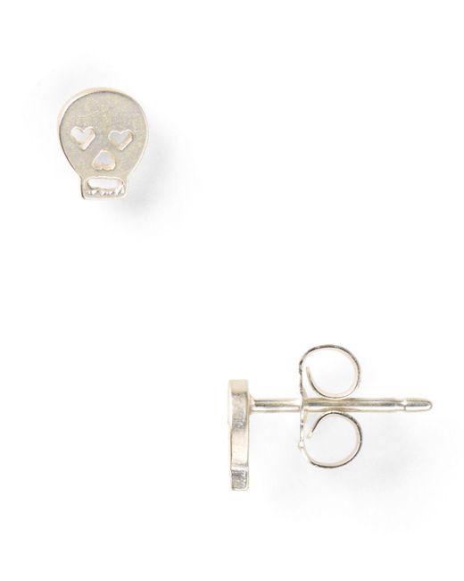 Dogeared - Metallic Little Things Mini Silver Skull Stud Earrings - Lyst