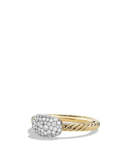 David Yurman - Metallic Petite Pavé Cushion Ring With Diamonds In Gold - Lyst