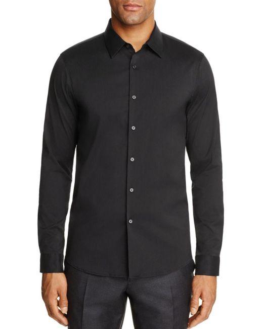 Michael Kors Black Stretch Cotton Slim Fit Button - Down Shirt for men