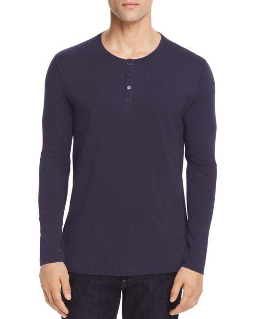 ATM Blue Long Sleeve Henley for men