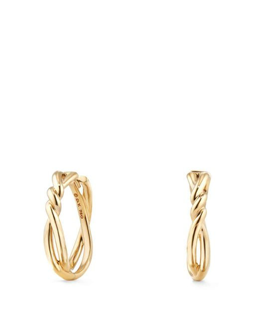 David Yurman Metallic 21mm Continuance 18k Gold Hoop Earrings