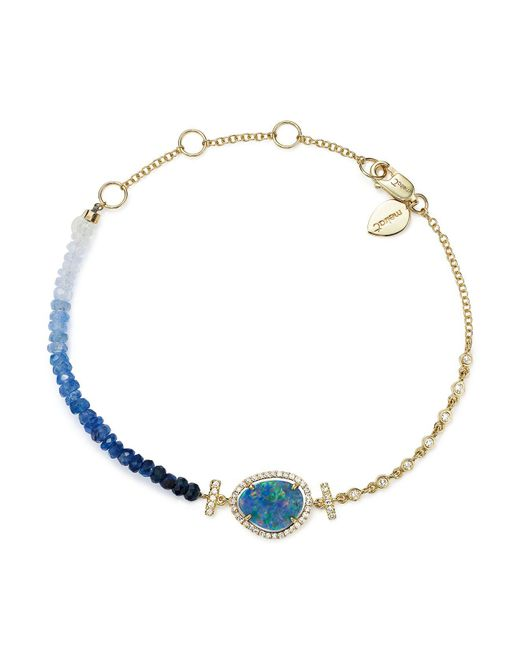 Meira T | 14k Yellow Gold Opal & Blue Sapphire Bead Bracelet | Lyst