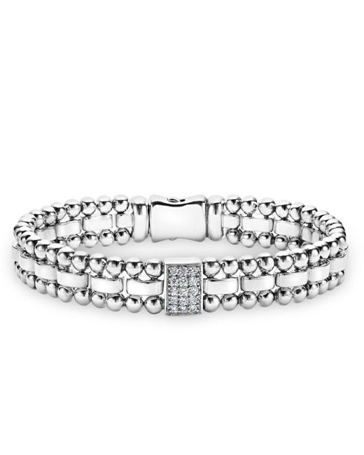 Lagos - Metallic Sterling Silver Caviar Spark Diamond Rectangle Link Bracelet - Lyst