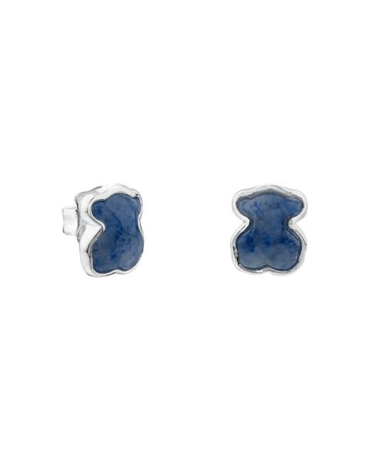 Tous - Blue Sterling Silver And Quartz Bear Stud Earrings - Lyst