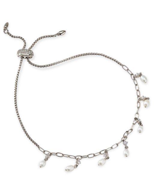 Nadri Metallic Silvertone & 5mm Freshwater Pearl Slider Bracelet