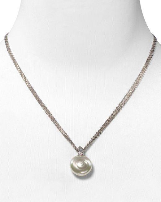 Majorica White Coin Simulated Pearl Pendant Necklace