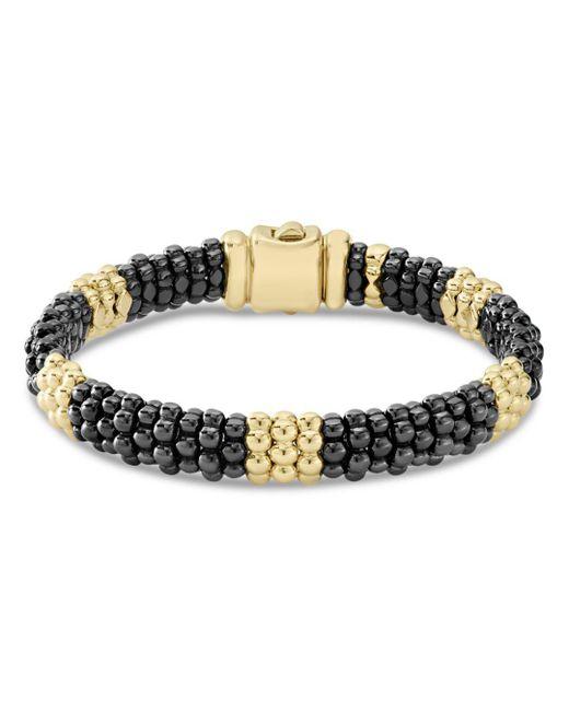 Lagos - Metallic Gold & Black Caviar Collection 18k Gold & Ceramic Beaded Five Station Bracelet - Lyst