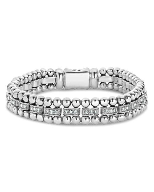 Lagos Metallic Sterling Silver Caviar Spark Diamond Link Bracelet