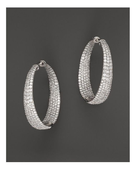 Roberto Coin | 18k White Gold Large Scalare Diamond Earrings | Lyst
