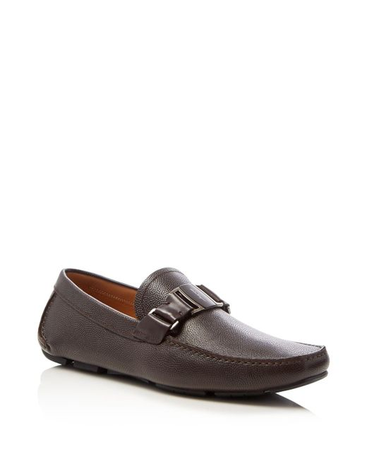 Ferragamo | Brown Sardegna Pebbled Calfskin Vara Driver for Men | Lyst