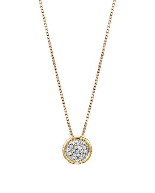 "John Hardy | Metallic Bamboo 18k Gold And Diamond Pave Small Round Pendant Necklace, 16"" | Lyst"