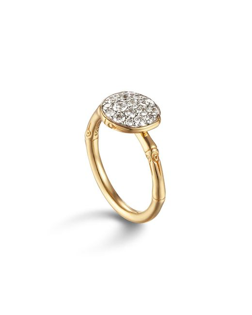 John Hardy | Metallic Bamboo 18k Gold And Diamond Pavé Small Round Ring | Lyst
