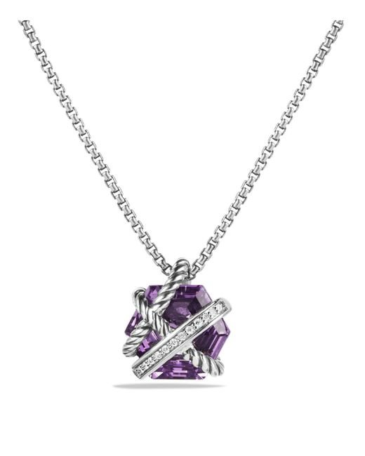 David Yurman | Purple Petite Cable Wrap Necklace With Amethyst And Diamonds | Lyst