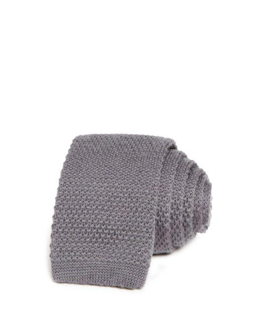 Bloomingdale's Gray Solid Knit Skinny Tie for men