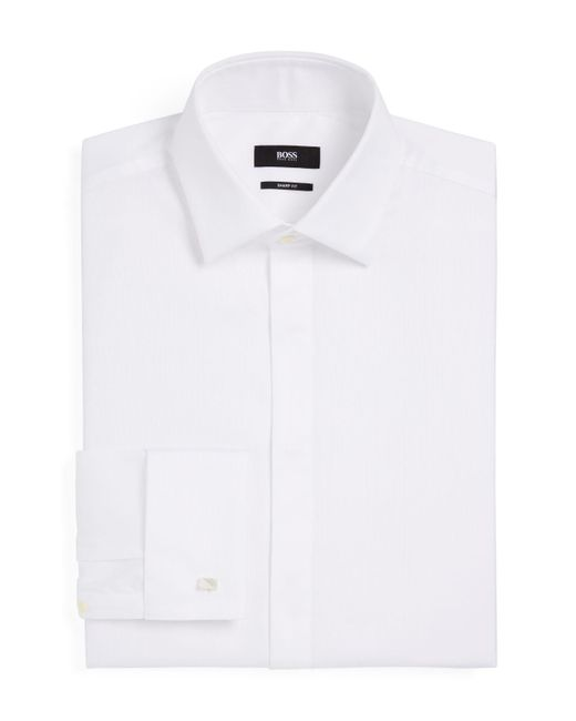 lyst boss marlyn tuxedo shirt regular fit in white for men