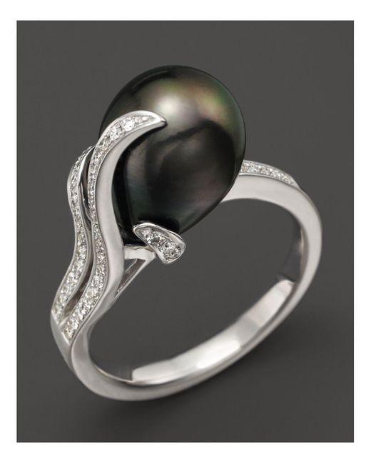 Tara Pearls   Black Diamond And Tahitian Cultured Pearl Ring   Lyst