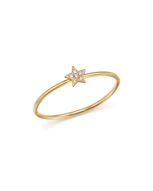 Zoe Chicco - Metallic 14k Yellow Gold Itty Bitty Diamond Star Ring - Lyst