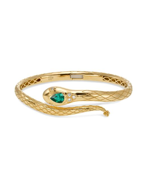 Temple St. Clair | Metallic 18k Yellow Gold Bella Serpent Bangle With Tsavorite And Diamonds | Lyst