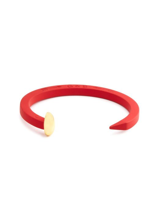 Giles & Brother - Red Rubberized Railroad Spike Cuff - Lyst
