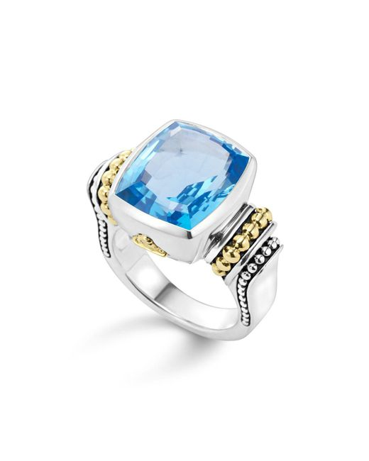 Lagos | 18k Gold And Sterling Silver Caviar Color Medium Ring With Swiss Blue Topaz | Lyst