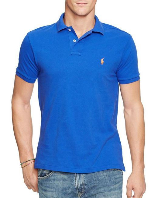 Polo Ralph Lauren | Blue Custom Short-sleeved Cotton Mesh Polo - Slim Fit for Men | Lyst