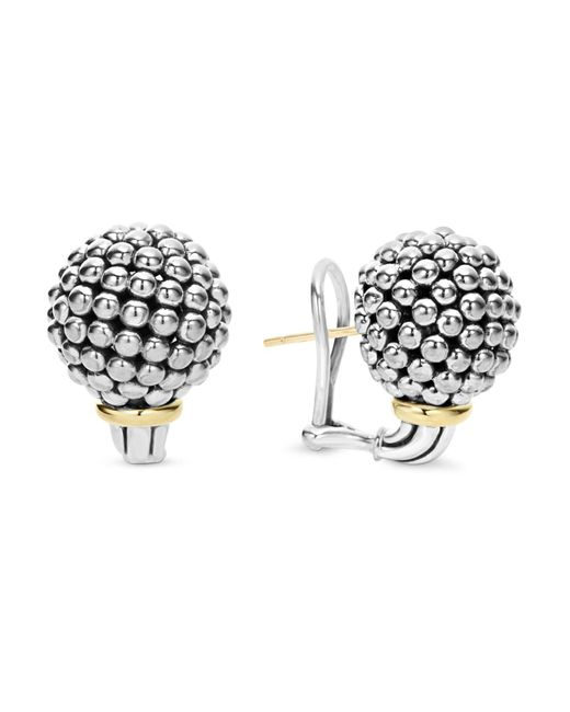 Lagos - Metallic Sterling Silver Large Caviar Bead Stud Earrings With 18k Gold - Lyst