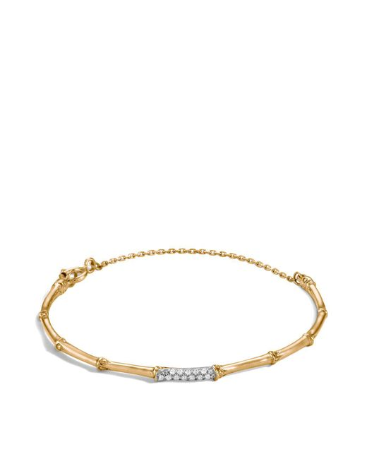John Hardy | Metallic Bamboo 18k Yellow Gold Diamond Pavé Slim Bracelet | Lyst