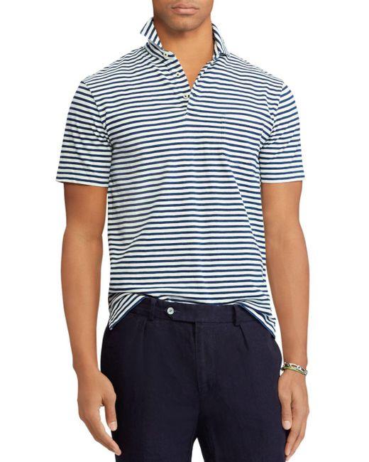 Polo Ralph Lauren - Blue Striped Custom Slim Fit Jersey Polo Shirt for Men - Lyst