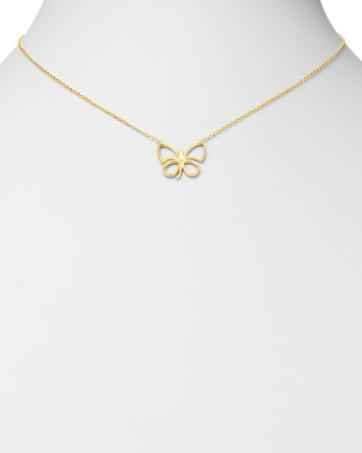 Bloomingdale's Metallic Butterfly Pendant Necklace In 14k Yellow Gold