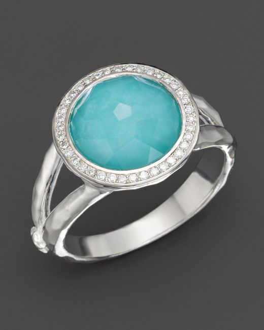 Ippolita | Metallic Sterling Silver Stella Mini Lollipop Ring In Turquoise Doublet With Diamonds | Lyst