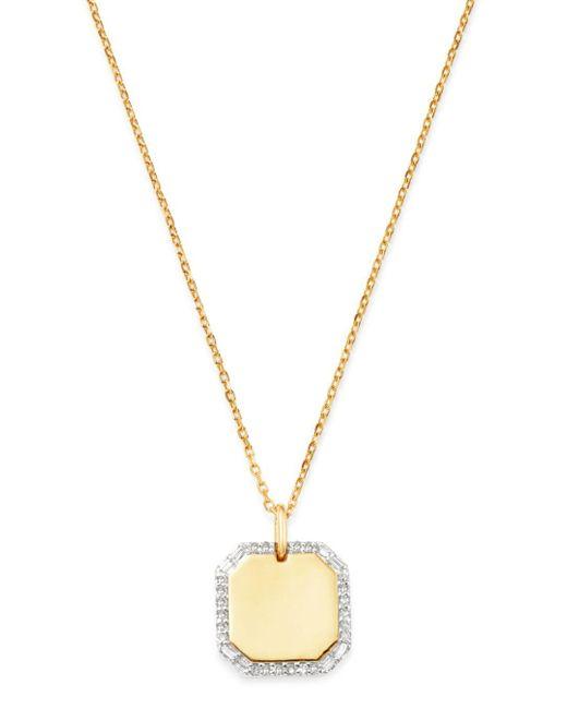 Adina Reyter Metallic 14k Yellow Gold Diamond Dog Tag Necklace