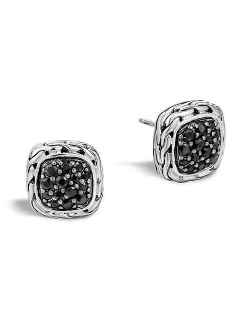 "John Hardy Metallic ""kali Lava"" Small Square Stud Earrings With Black Sapphire"