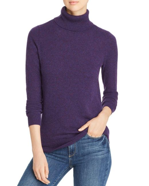 C By Bloomingdale's Purple Cashmere Turtleneck Sweater
