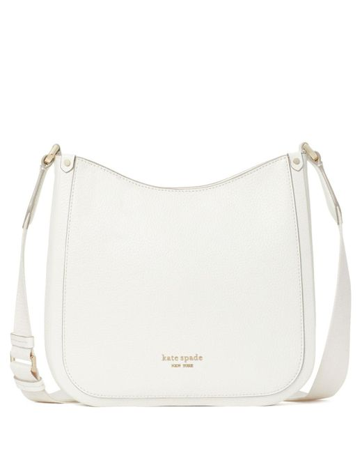 Kate Spade White Roulette Medium Leather Messenger Bag