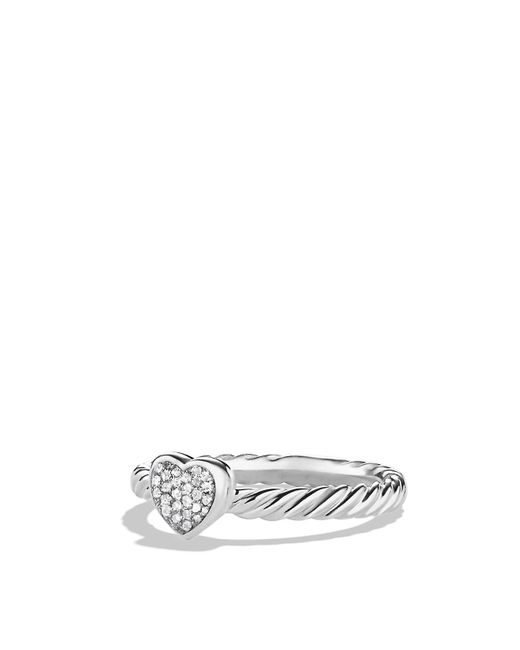 David Yurman | Metallic Cable Collectibles Heart Ring With Diamonds | Lyst