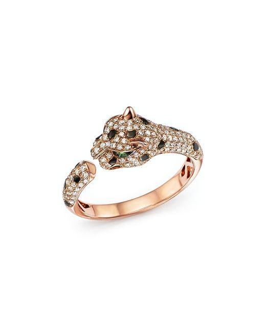 Bloomingdale's - Metallic Diamond And Tsavorite Panther Ring In 14k Rose Gold - Lyst