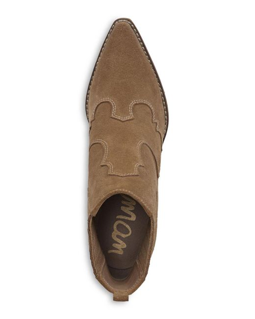 31a817c0a ... Sam Edelman - Brown Winona Western Stitched Suede Booties - Lyst ...
