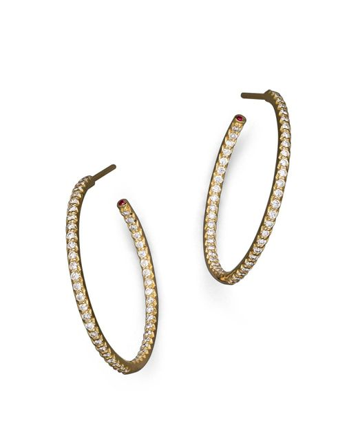 Roberto Coin | 18k Yellow Gold Micropave Inside-out Diamond Hoop Earrings | Lyst