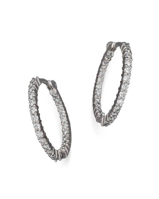 Roberto Coin | 18k White Gold Diamond Inside-out Hoop Earrings | Lyst