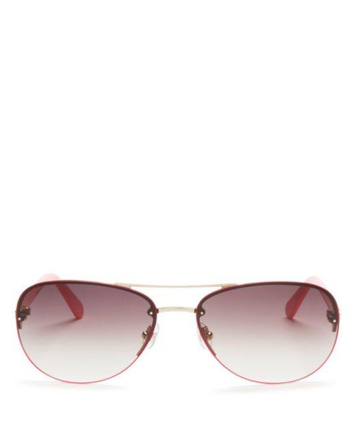 Kate Spade Metallic Women's Beryl Brow Bar Rimless Round Sunglasses