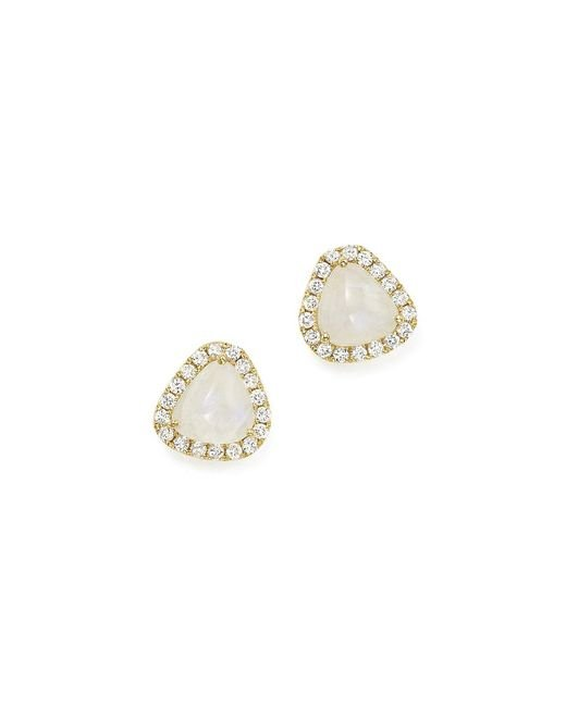 Meira T | Metallic 14k Yellow Gold Rainbow Moonstone And Diamond Stud Earrings | Lyst