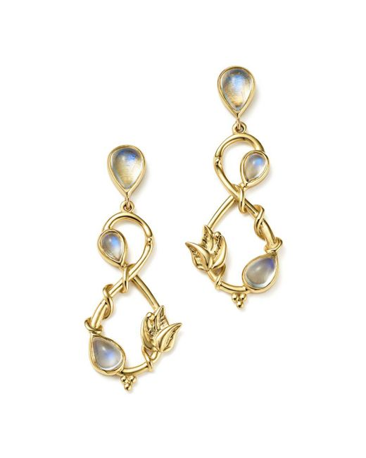 Temple St. Clair - Metallic 18k Yellow Gold Double Leaf Royal Blue Moonstone Earrings - Lyst