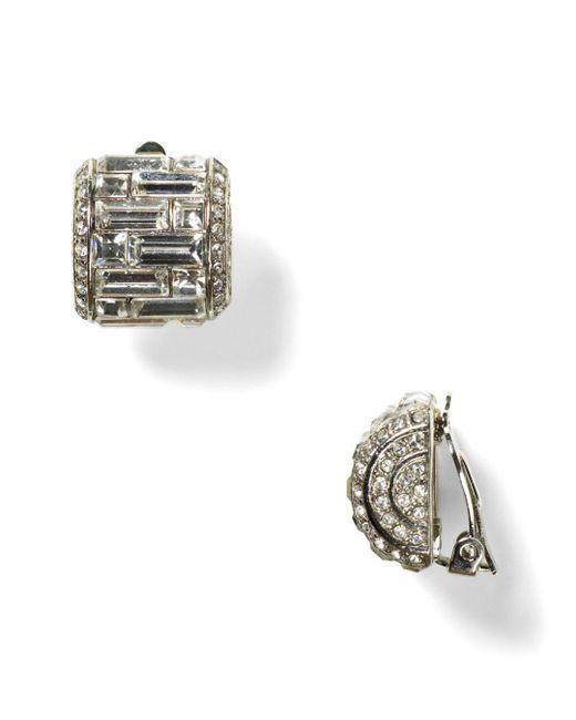 Carolee - Metallic Crystal Button Clip-on Earrings - Lyst