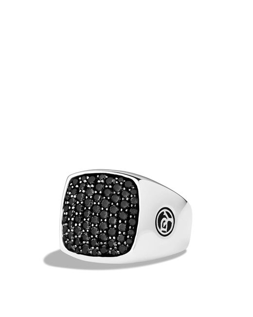 David Yurman - Metallic Pavé Signet Ring With Black Diamonds for Men - Lyst